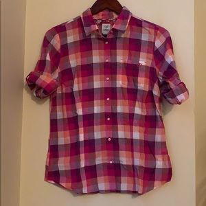 Izod 3/4 Sleeve Checkered Button Down Shirt S/P